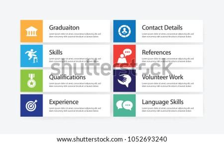 curriculum vitae infographic icon set