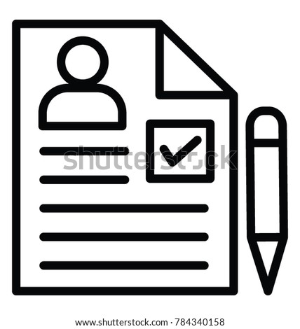 Curriculum Vitae Job Application Pencil Line Stock Vector Royalty