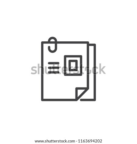 curriculum vitae outline icon linear style sign for mobile concept and web design attached