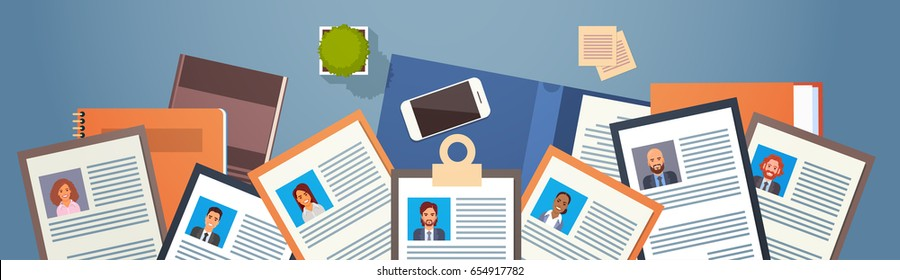 Curriculum Vitae Recruitment Candidate Job Position, CV Profile On Desk Top Angle View Business People to Hire Vector Illustration