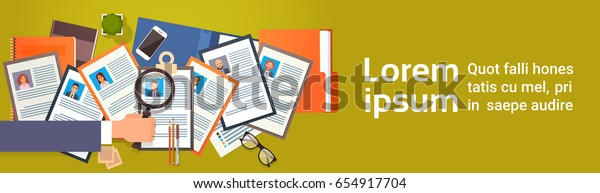 Curriculum Vitae Recruitment Candidate Job Position, Hand Hold Magnifying Glass Choose CV Profile Business People to Hire Vector Illustration