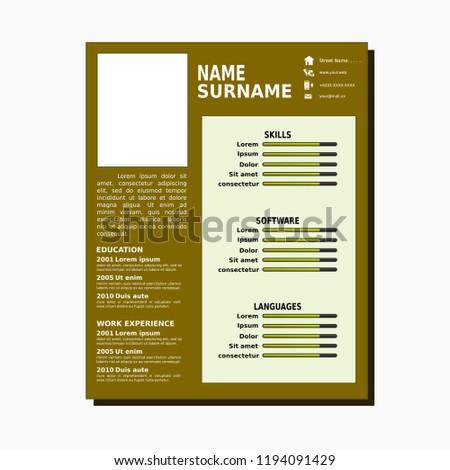 Curriculum Vitae Simple Template Stock Vector Royalty Free