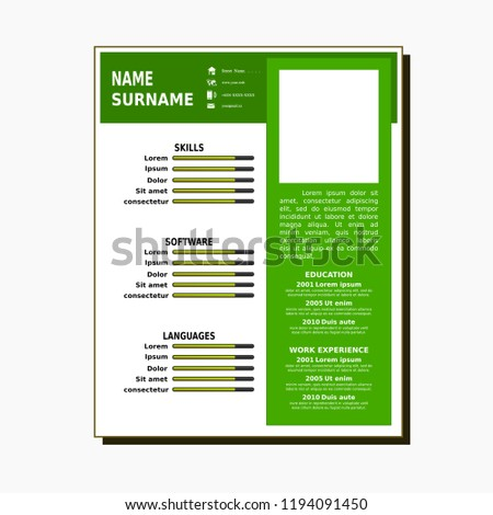 Curriculum Vitae Simple Template Stock Vector Royalty Free