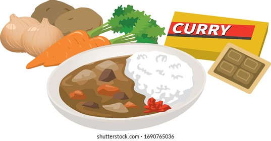 Curry ingredients and curry image illustration