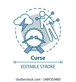 Curse concept icon. Occultism and witchcraft idea thin line illustration. Black magic, death spell. Voodoo doll with needles, drum and storm cloud vector isolated outline drawing. Editable stroke
