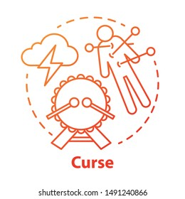 Curse concept icon. Occultism and witchcraft idea thin line illustration. Black magic, death spell, mystic ritual. Voodoo doll with needles, drum and storm cloud vector isolated outline drawing