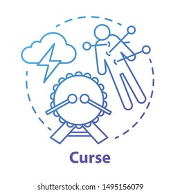 Curse concept icon. Occultism and witchcraft idea thin line illustration. Black magic, death spell, supernatural ritual. Voodoo doll with needles, drum and storm cloud vector isolated outline drawing