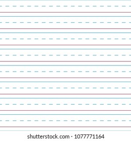 Cursive Handwriting Tablet Paper Seamless Pattern - Blue and red lines and dashed lines of cursive handwriting tablet paper seamless pattern
