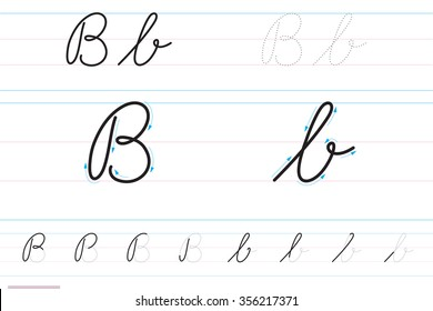 Cursive letters for learning to write. Bb