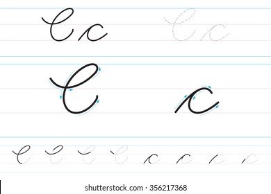 Cursive letters for learning to write. Cc