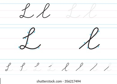 Cursive letters for learning to write. Ll