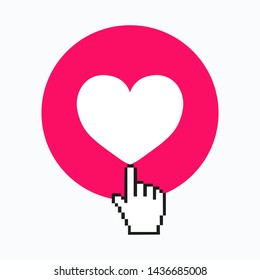 Cursor hand icon. Instagram counter, follower notification symbol. Hearts isolated on a white background. Heart icon. Like and Love icon. Vector illustration. EPS 10