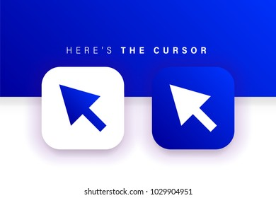Cursor icon. Mouse icon. Arrow icon. Square contained. Use for brand logo, application, ux/ui, web. Blue design. Compatible with jpg, png, eps, ai, cdr, svg, pdf, ico, gif.