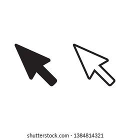 Cursor icon set, vector cursor arrow, black and line icons