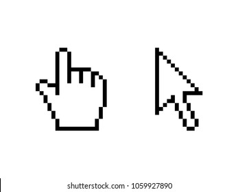 Cursor icons hand arrow pixel vector illustration