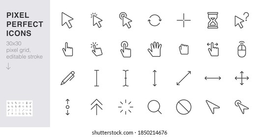 Cursor line icon set. mouse click, hand tap, arrow pointer, type here, scroll, hourglass, finger minimal vector illustration. Simple outline sign for selection. 30x30 Pixel Perfect Editable Stroke.