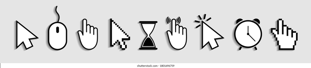 Cursor of mouse with arrow, hand and hourglass. Icons of click for web and computer. Finger of pointer for website. Symbol of internet link and press to button. Set of logos for navigation. Vector.