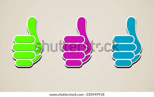 Cursor to a multicolored thumbs up