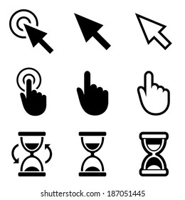 Cursor pointer icons. Mouse, hand, arrow, hourglass. Click, press and touch actions. Vector.