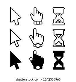 Cursors Icons. Mouse Arrow, Hand and Hourglass. Vector Design Elements Set for Web Design, Banners, Presentations or Business Cards, Flyers, Brochures and Posters.