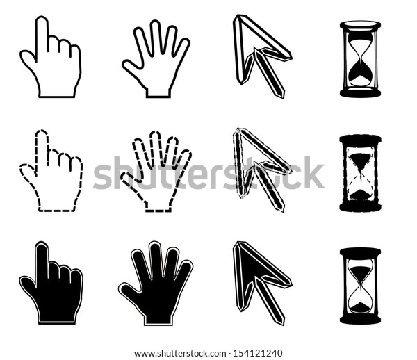 Cursors icons on white background