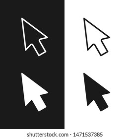 Cursors icons set. Arrows graphic signs isolated on white and black background. Vector illustration