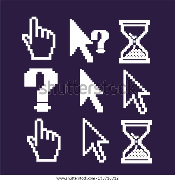 cursors: pointer, arrow, hand icons set, vector
