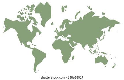 cursory world map, simple , green vintage vector