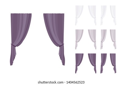 Curtain and drapery set. Blackout fabric panels for bedroom, living room, window drapes elegant home decor. Vector flat style cartoon illustration isolated on white background, different views, color