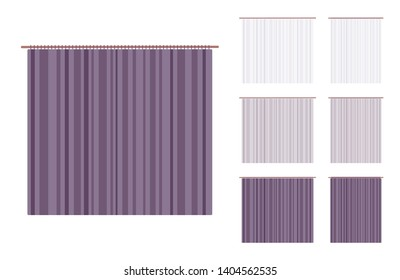 Curtain and frame drapery set. Wide blackout cloth, room darkening textile, indoor or outdoor fabric. Vector flat style cartoon illustration isolated on white background, different views and color