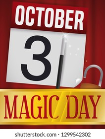 Curtain with golden ribbon and padlock announcing a magic show with a loose-leaf calendar and wand with sparkles to celebrate Magic Day in October 31.