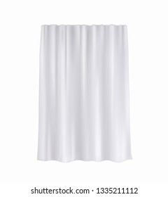 Curtain, hanging window decoration isolated on white background. Vector cloth, fabric, silk veil. Textile white curtain wave drapery.