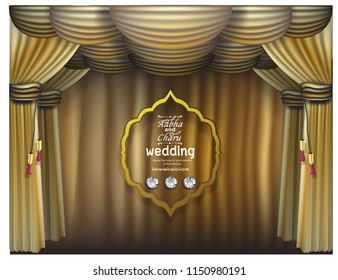 Curtain Purple And Gold Curtains Vector Festive Template With Scene Poster Design For Business Cards