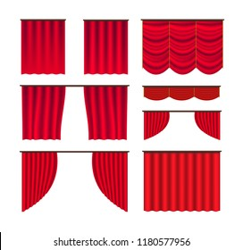 Curtain stage big set vector. Red silk curtains behind the scenes