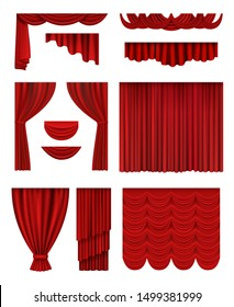Curtain stage. Theatrical opera hall decoration red luxury silk curtains vector realistic collection