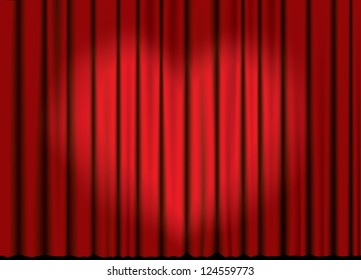 Curtain from the theatrer with a spotlight in heart form.