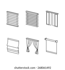 Curtain types - roll, blind, louvers, jalousie. Clear Outline Icons Set.