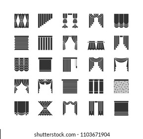 Curtains & blinds. Window drapes. Different styles of draperies. Roman, roller, pleat, panel, beaded shades. Flat icon collection. Isolated objects on white backround.