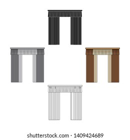 Curtains with drapery on the cornice.Curtains single icon in cartoon,black style vector symbol stock illustration web.