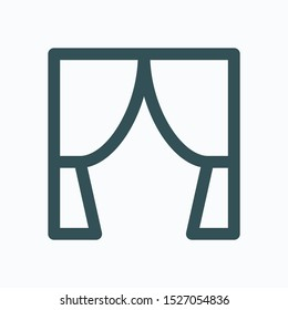 Curtains isolated icon, interior decoration linear vector icon