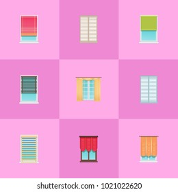Curtains and jalousies made of textile and thin planks on large plastic windows isolated cartoon flat vector illustrations set on pink background.