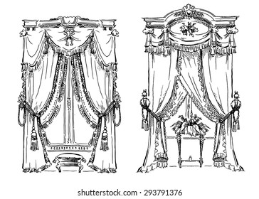 Curtains sketch. Cozy interior elements collection. Classic style drawing.