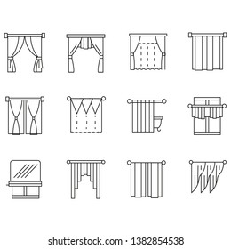 Curtains for stylish interior. Set line style icon