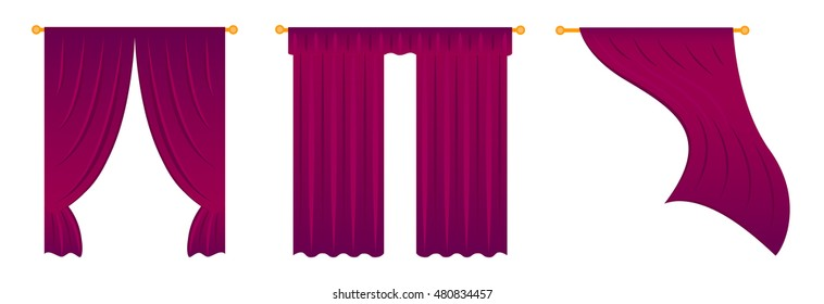 Curtains vector illustration. Scalloped valance over hanging and wind waving curtains on white background. Window treatment isolated. Rich red color textile for home decor. Living room drapery design
