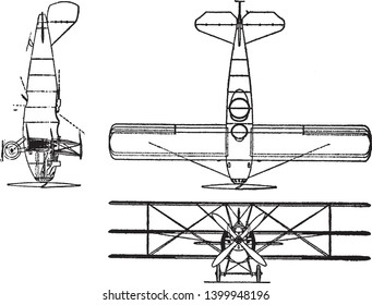 Curtis Model 18 I Triplane has a 400 horsepower K 12 engine, vintage line drawing or engraving illustration.