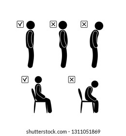 curvature of posture illustration, correct and incorrect position of the spine, a person is standing, sitting, pictogram stick figure people Icon