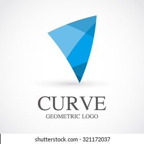 Curve blue geometric abstract vector and logo design or template sailing business icon of company marine symbol concept