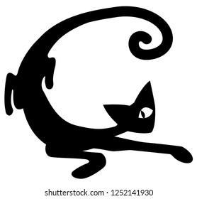 Curve cat cartoon stencil black, vector illustration, horizontal, isolated