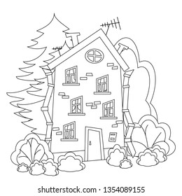 Curve, mobile, brick, vintage multi-storey house with Windows, door, balcony, attic window in the forest. Black and white, contour, simple illustration