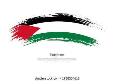 Curve style brush painted grunge flag of Palestine country in artistic style